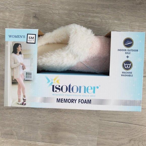 Isotoner Pink & Cream Memory Foam Slippers 6.5-7